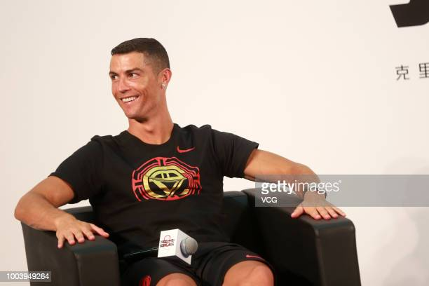 Portuguese footballer Cristiano Ronaldo visits Beijing Haidian Minzu Primary School during his China tour on July 19 2018 in Beijing China