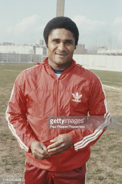Portuguese footballer Eusebio former striker with Benfica pictured wearing a red Adidas tracksuit during a 198384 season training session in Portugal...