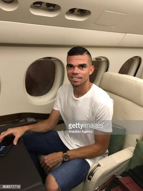 Portuguese footballer Pepe who is Besiktas's new transfer is seen in a plane as he leaves Lisbon to sign his contract with Besiktas in Istanbul on...