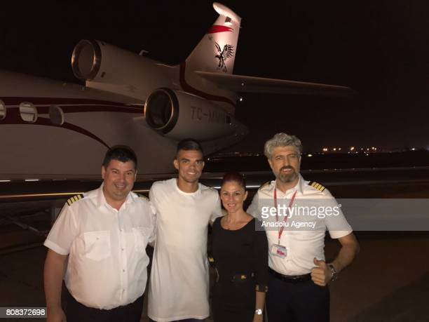 Portuguese footballer Pepe who is Besiktas's new transfer poses for a photo before he leaves Lisbon to sign his contract with Besiktas in Istanbul on...