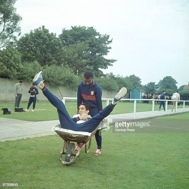 Portuguese footballer Vicente Lucas pushing team mate Jose Torres in a wheel barrow at a training session during the 1966 World Cup in England July...