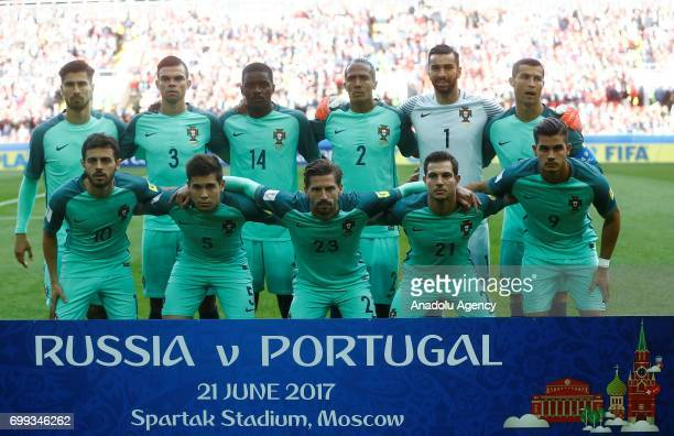 Portuguese footballers pose for a photo before the FIFA Confederations Cup 2017 group A football match between Russia and Portugal at Otkrytiye Arena...