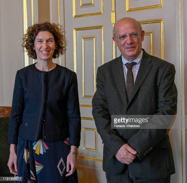 Portuguese Foreign Minister Augusto Santos Silva greets Andorra's Minister of Foreign Affairs Maria Ubach before their meeting on February 22 2019 in...