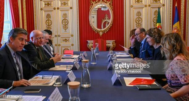 Portuguese Foreign Minister Augusto Santos Silva meets with Andorra's Minister of Foreign Affairs Maria Ubach at Palacio das Necessidades on February...