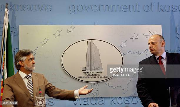 Portuguese Foreign minister Luis Amado talks to the media after his meeting with Kosovo Prime Minister Agim Ceku, 22 August 2007. Amado said that new...