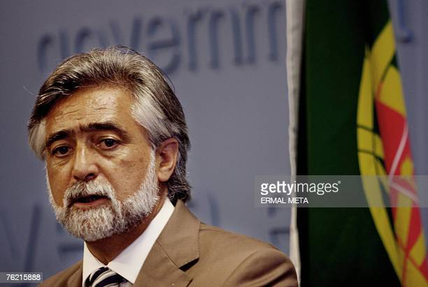 Portuguese Foreign minister Luis Amado talks to the media after his meeting with Kosovo Prime Minister Agim Ceku , 22 August 2007. Amado said that...