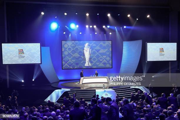 Portuguese former football player Deco and UEFA director of competitions Giorgio Marchetti perform the UEFA Nations League draw at the headquarters...