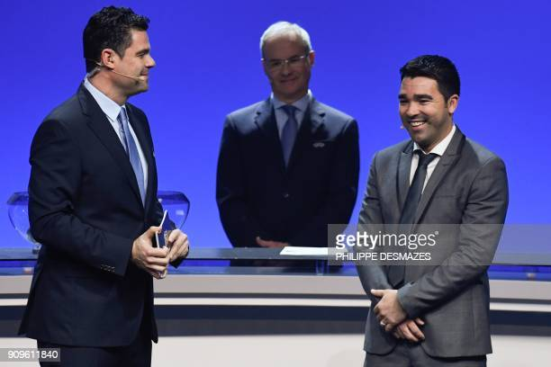 Portuguese former football player Deco is pictured during the UEFA Nations League draw at the headquarters of the European football organisation in...