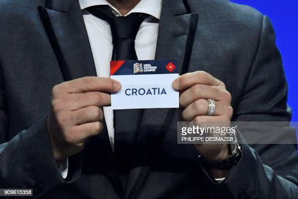 Portuguese former football player Deco shows the name of Croatia during the UEFA Nations League draw at the headquarters of the European football...