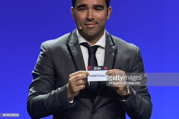 Portuguese former football player Deco shows the name of Portugal during the UEFA Nations League draw at the headquarters of the European football...