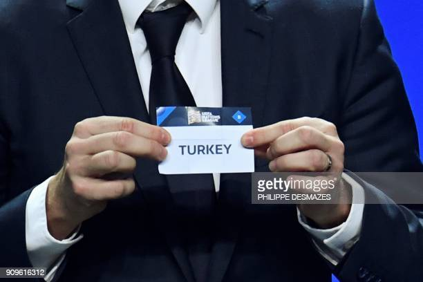 Portuguese former football player Deco shows the name of Turkey during the UEFA Nations League draw at the headquarters of the European football...