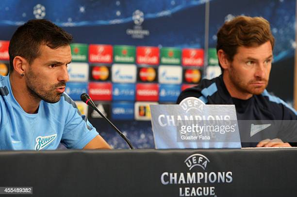 Portuguese forward Danny with coach Andre VillasBoas during the Champions League Press Conference on September 15 2014 in Lisbon Portugal