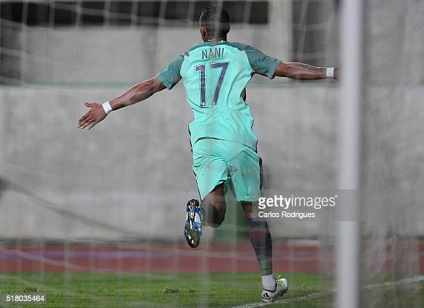 Portuguese forward Nani celebrates scoring Portugal«s first goal during the match between Portugal and BelgiumFriendly International at Estadio...