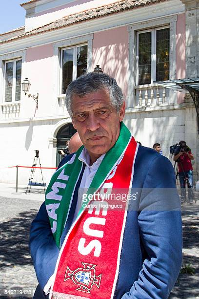 Portuguese head coach Fernando Santos during the meeting with the countries President Marcelo Rebelo de Sousa for the Portugal Euro 2016 Victory...
