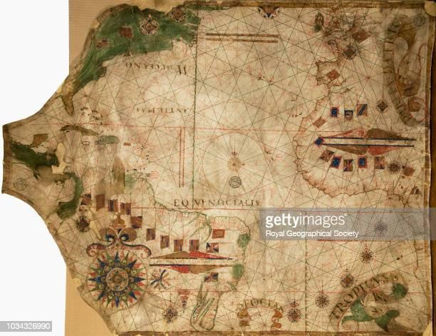 Portuguese manuscript chart of the North Atlantic and neighbouring lands, circa 1550, circa 1550.