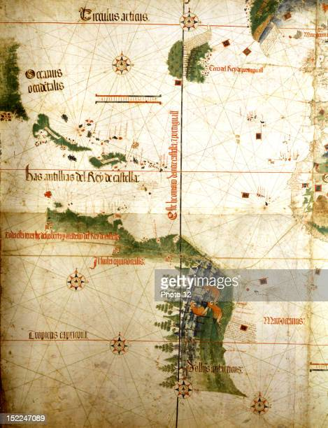 Portuguese map known as Cantino map indicating the limiting line between Spanish and Portuguese territories set by the treaty of Tordesillas c Modena...