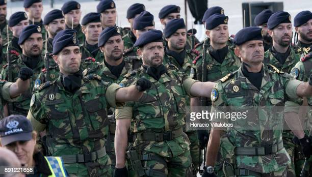 Portuguese Marines parade during the ceremony in Praca do Comercio to commemorate Portuguese Navy 700th anniversary on December 12 2017 in Lisbon...