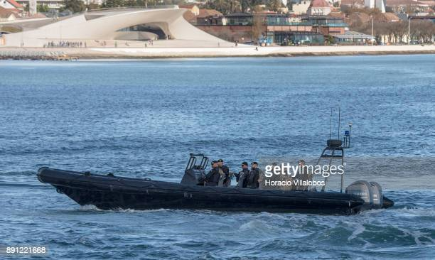 Portuguese Maritime Police fast patrol boat sails the Tagus River by MAAT Museum during the commemoration day of the Portuguese Navy's 700th...