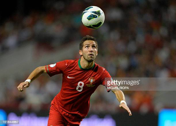 Portuguese midfielder Joao Moutinho watches the ball on September 11 2012 during a World Cup 2014 qualifying football match against Azerbaijan at the...