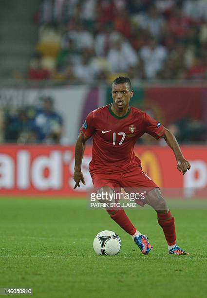 Portuguese midfielder Nani controls the ball during the Euro 2012 championships football match Germany vs Portugal on June 9 2012 at the Arena Lviv...
