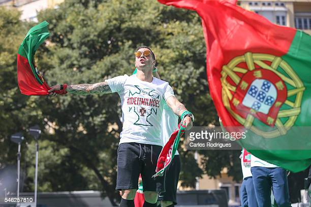 Portuguese midfielder Vieirinha celebrating during the Portugal Euro 2016 Victory Parade at Lisbon on July 11 2016 in Lisbon Portugal