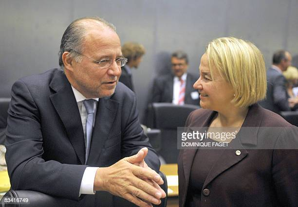 Portuguese Minister of Justice Alberto Costa talks with Finnish counterpart Tuija Brax on October 24 2008 before a Justice council at the Council...
