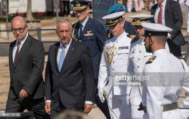 Portuguese Minister of National Defense Jose Alberto Azeredo Lopes Portuguese President Marcelo Rebelo de Sousa and Navy Chief of Staff Admiral...