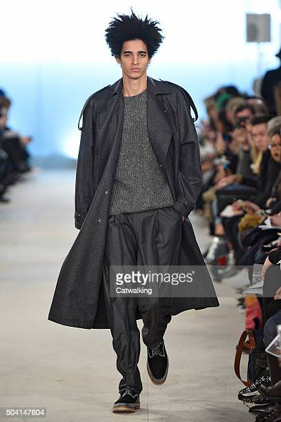 Portuguese model Luis Borges walks the runway at the ETautz Autumn Winter 2016 fashion show during London Menswear Fashion Week on January 9 2016 in...
