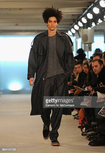 Portuguese model Luis Borges walks the runway at the E.Tautz show during The London Collections Men AW16 at 180 The Strand on January 9, 2016 in...