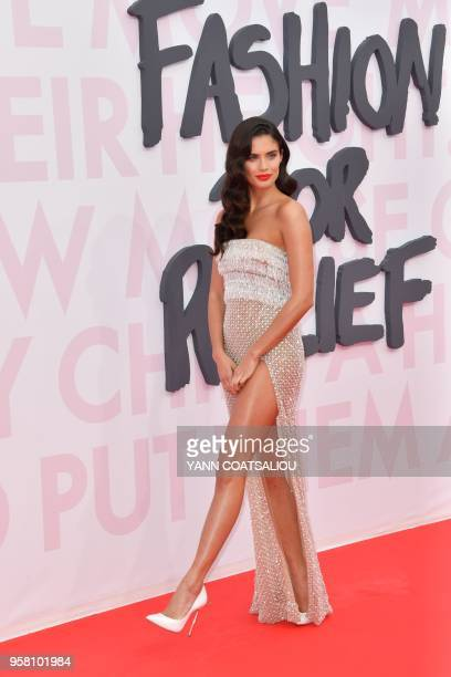Portuguese model Sara Sampaio attends on May 13 2018 for Fashion For Relief Cannes 2018 on the sidelines of the 71st edition of the Cannes Film...