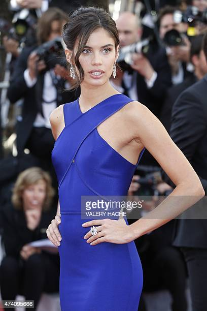 Portuguese model Sara Sampaio poses as she arrives for the screening of the film 'Youth' at the 68th Cannes Film Festival in Cannes southeastern...