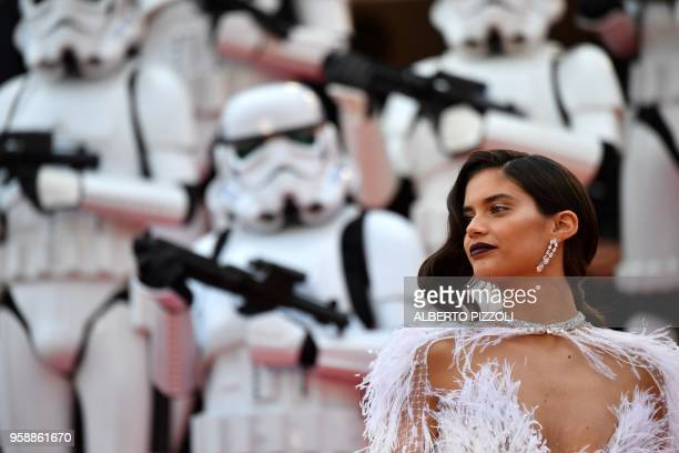 """Portuguese model Sara Sampaio poses as she arrives on May 15, 2018 for the screening of the film """"Solo : A Star Wars Story"""" at the 71st edition of..."""