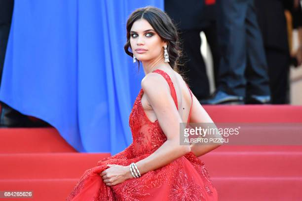 Portuguese model Sara Sampaio poses as she arrives on May 17 2017 for the screening of the film 'Ismael's Ghosts' during the opening ceremony of the...