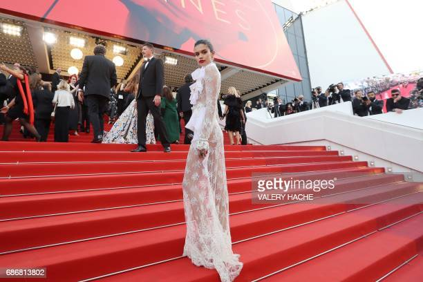 Portuguese model Sara Sampaio poses as she arrives on May 22 2017 for the screening of the film 'The Killing of a Sacred Deer' at the 70th edition of...