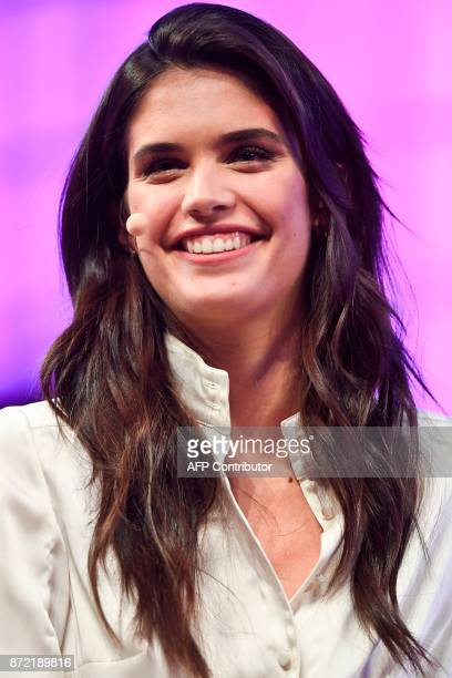 Portuguese model Sara Sampaio smiles during an interview at the 2017 Web Summit in Lisbon on November 9 2017 Europe's largest tech event Web Summit...