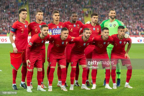 Portuguese national football team poses for photo during UEFA Nations League A match between Poland and Portugal at Silesian Stadium in Chorzow...