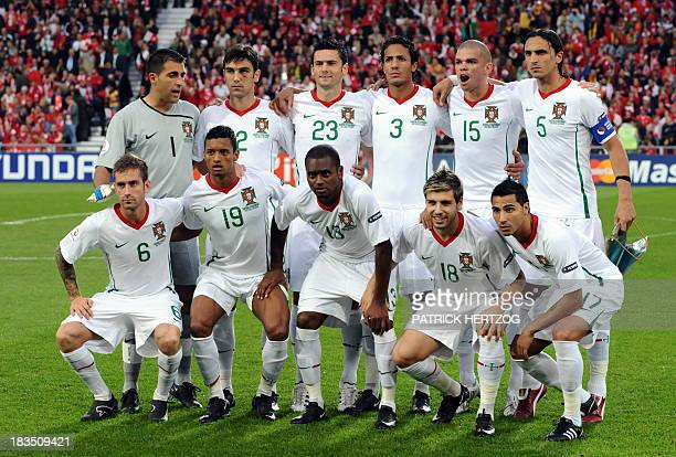 Portuguese national team players goalkeeper Ricardo defender Paulo Ferreira forward Helder Postiga defender Bruno Alves defender Pepe defender...