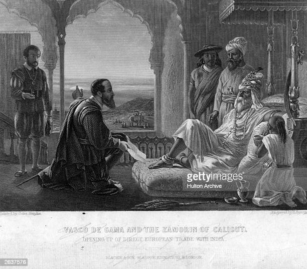 Portuguese navigator Vasco Da Gama paying homage to an Indian ruler at his palace in CalicutVasco da Gama with the Zamorin of Calicut opening up...