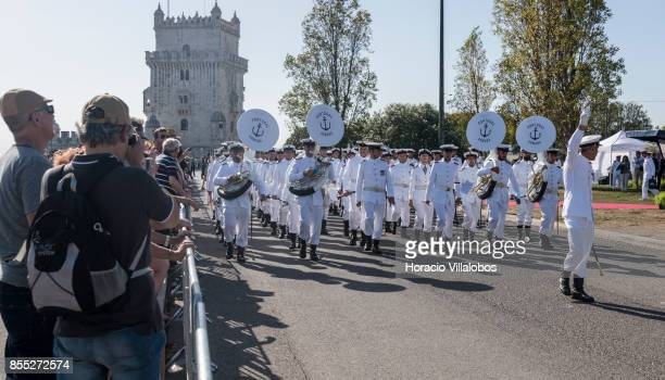 Portuguese Navy band performs for guests and spectators at the end of the commemoration of the 100th anniversary of Portuguese Naval Aviation on...