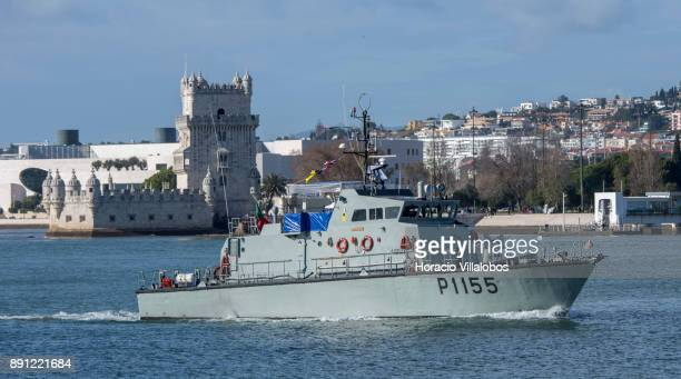 Portuguese Navy Centauro a Centauro Class patrol boat sails the Tagus River by Belem Tower during the commemoration day of the Portuguese Navy's...