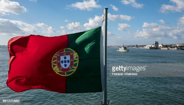 Portuguese Navy Orion a Centauro Class patrol boat sails the Tagus River by Belem Tower during the commemoration day of the Portuguese Navy's 700th...