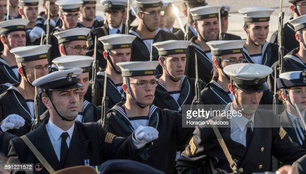 Portuguese Navy personnel parade during the ceremony in Praca do Comercio to commemorate Portuguese Navy 700th anniversary on December 12 2017 in...
