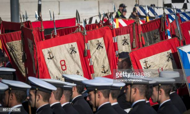 Portuguese Navy personnel stand by navy pennants during ceremony in Praca do Comercio to commemorate Portuguese Navy 700th anniversary on December 12...