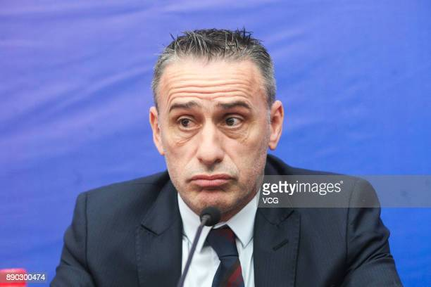 Portuguese Paulo Bento, new coach of the Chinese football club Chongqing Lifan, reacts during his first press conference on December 11, 2017 in...