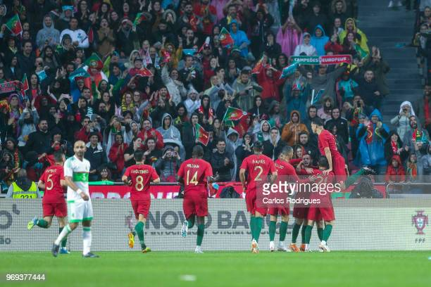 Portuguese players celebrates Portugal goal scored by Portugal and Valencia FC forward Goncalo Guedes during Portugal vs Algeria International...