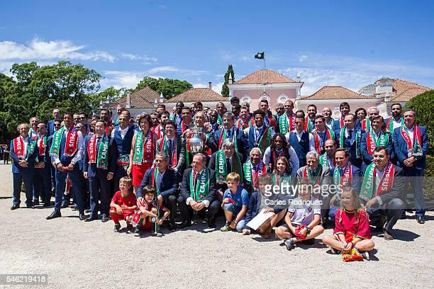 Portuguese players with the Portuguese President Marcelo Rebelo de Sousa Portuguese Primer Minister Antonio Costa and the Portuguese President of...