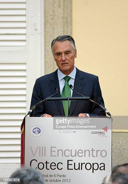 Portuguese President Anibal Cavaco Silva attends COTEC Europa Meeting at Palacio El Pardo on October 3 2012 in Madrid Spain