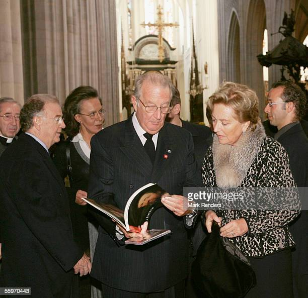 Portuguese President Jorge Sampaio and his wife Maria Jose Ritta vist the Cathedral with King Albert and Queen Paola of Belgium on October 20 2005 in...