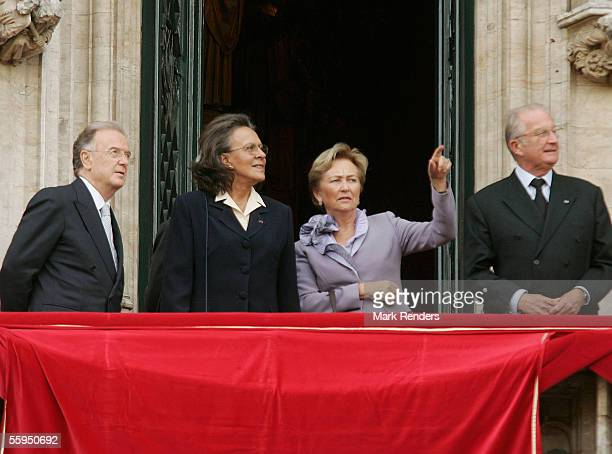 Portuguese President Jorge Sampaio his wife Maria Jose Ritta Queen Paola and King Albert of Belgium stand on the balcony at Town Hall October 18 2005...