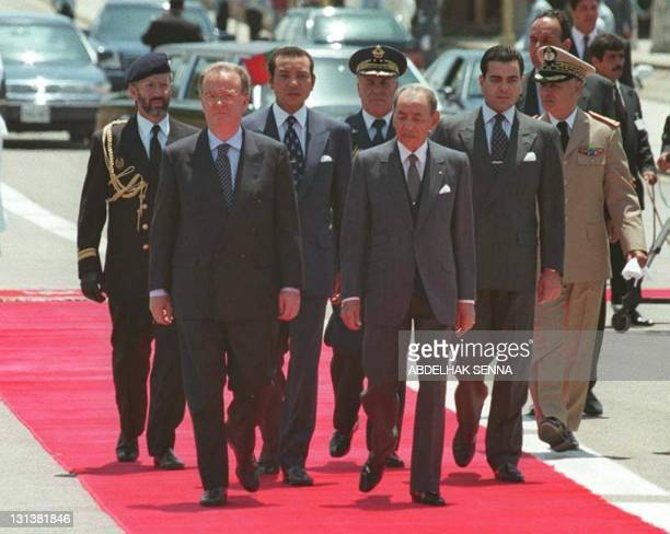 Portuguese President Jorge Sampaio is greeted by Morroco's King Hassan II Crown Prince Sidi Mohamed and prince Moulay Rachid at the Royal Palace in...